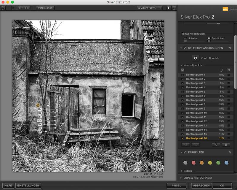 Die Umwandlung in ein Schwarz Weiß Photo mit dem Silver Efex Filter der Nie Collection
